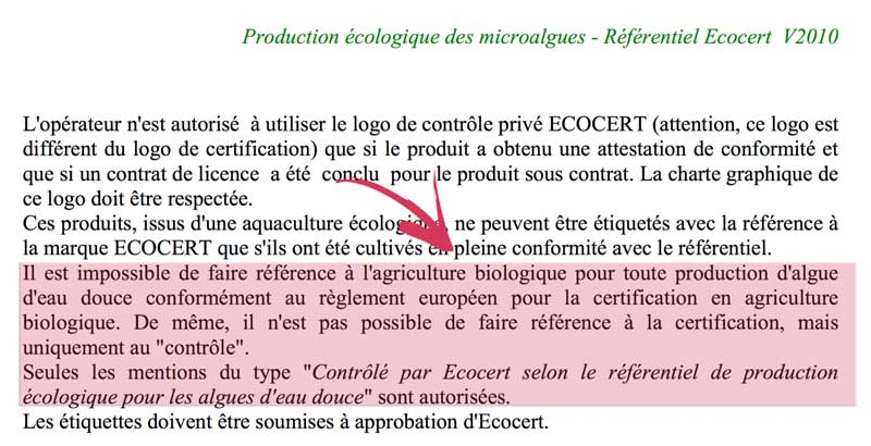 Production écologique des microalgues